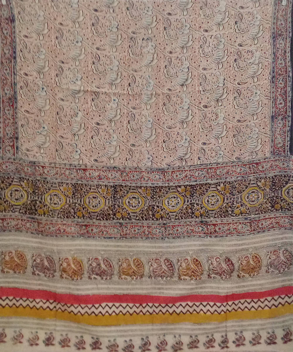 Polychromatic Kalamkari block printed cotton saree