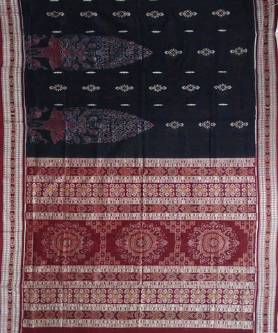 Handloom Black Bomkai Cotton Saree