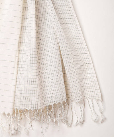Handwoven white fulia cotton stole
