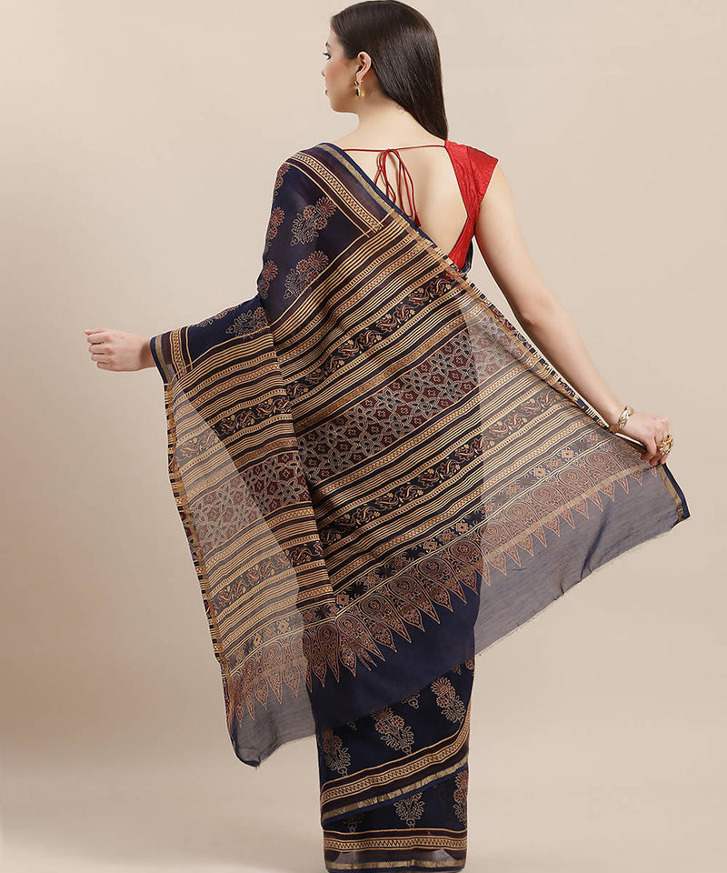 Navy Blue Handblock Printed Chanderi Saree