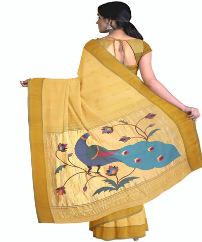 Light Yellow Handwoven Paithani Cotton Saree