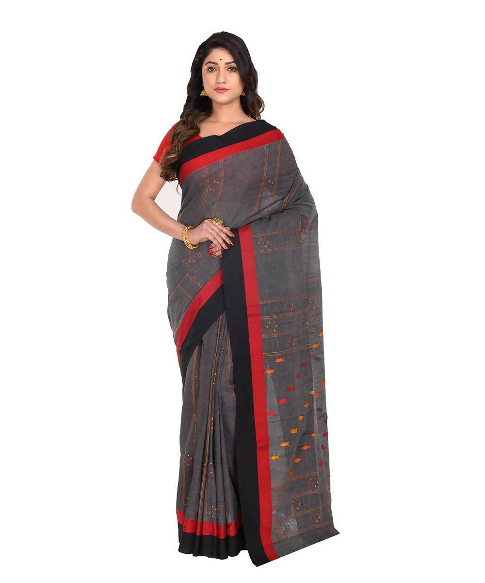 Handwoven bengal grey cotton saree