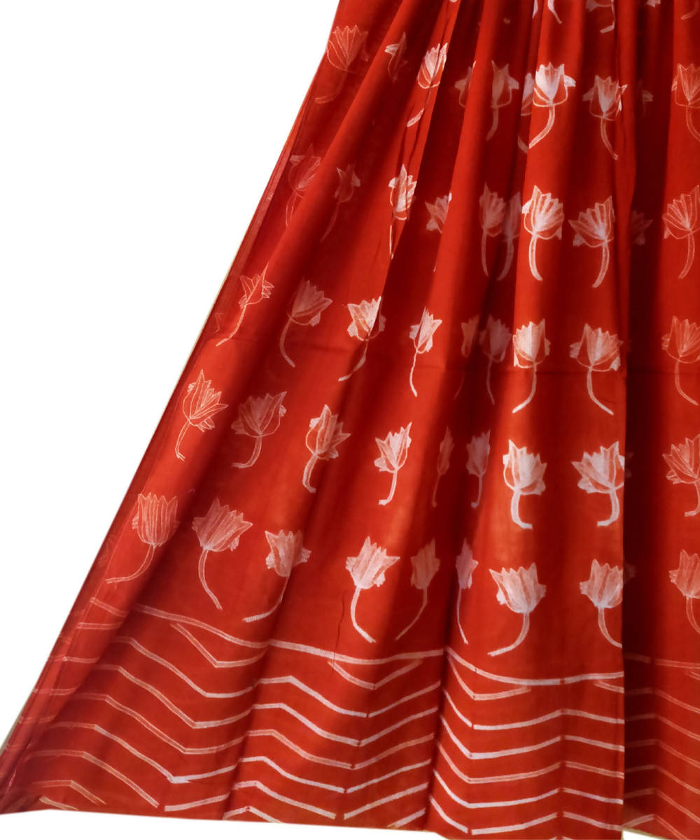 Shibori Print Cotton Ruby Red Dupatta