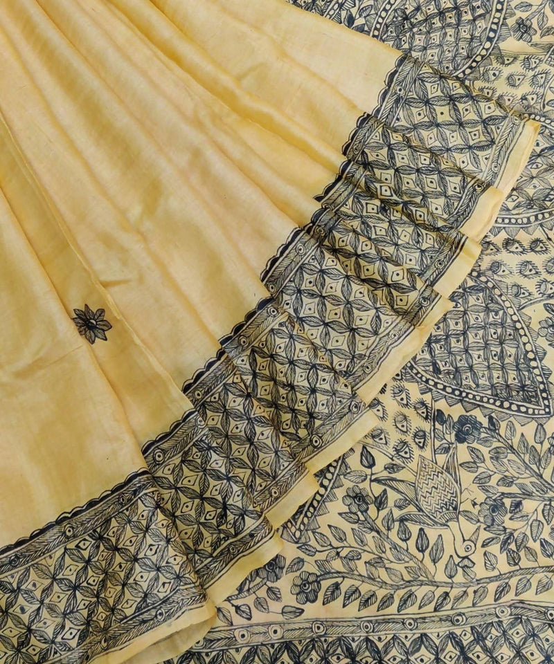 Yellow Madhubani Hand Paint Tussar Silk Saree