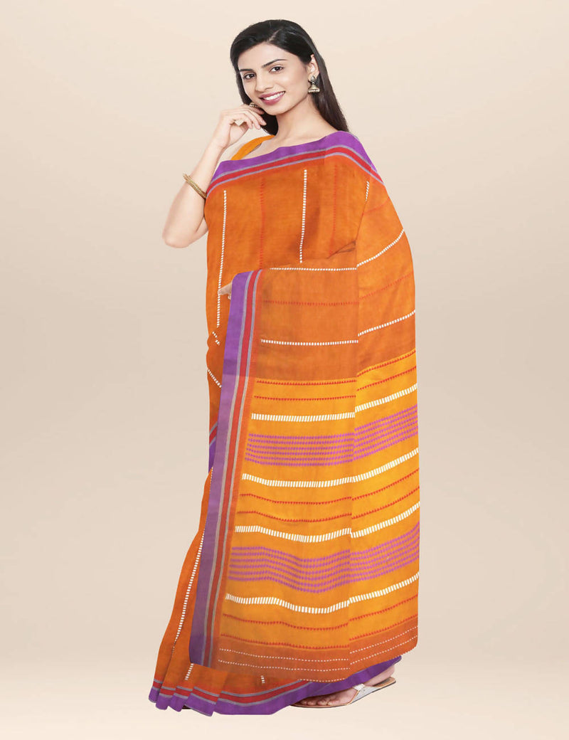 Orange handwoven cotton saree