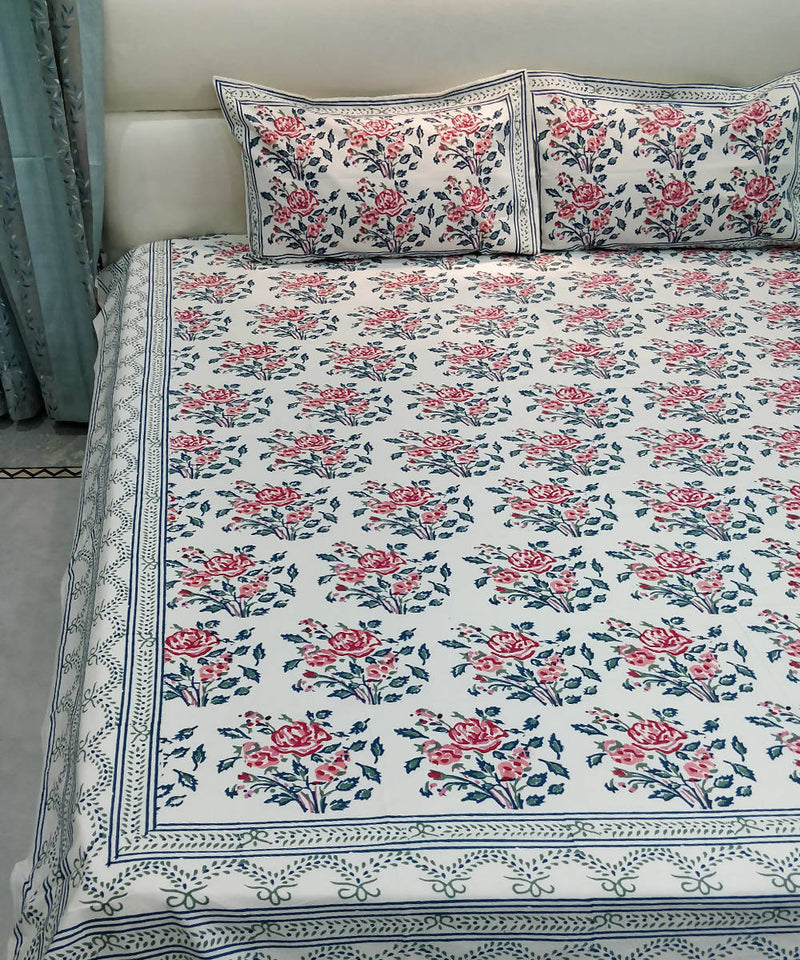 Red Floral Handblock Print Cotton Bedsheet