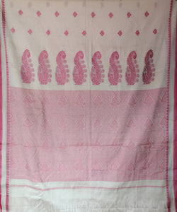 white handloom pink butta work cotton saree
