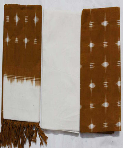 Light Brown Handloom Ikat Cotton Punjabi Suit