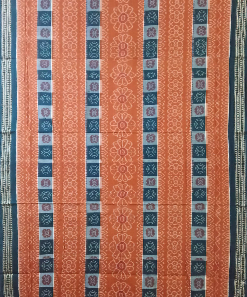 Rust and Green Sambalpuri Cotton Ikat Saree
