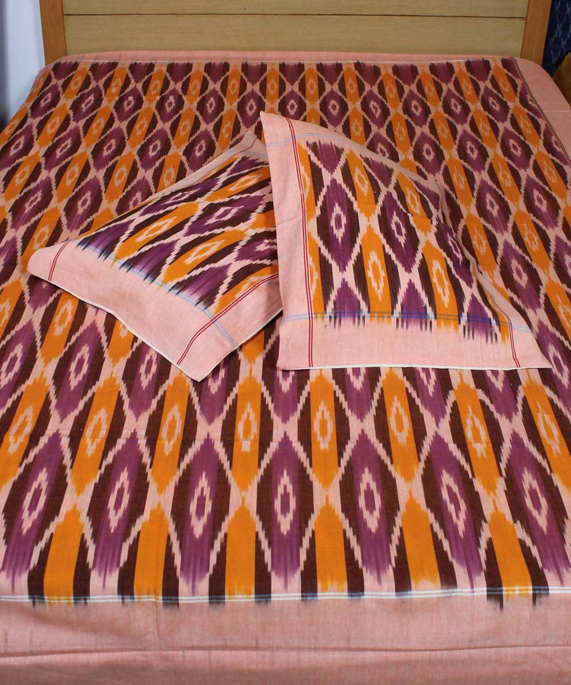 Purple Handloom Double Bedsheet