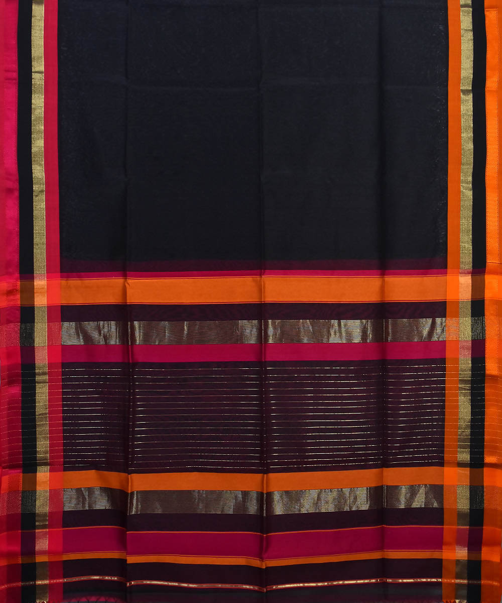 Handloom Black Maheshwari Cotton Silk Saree
