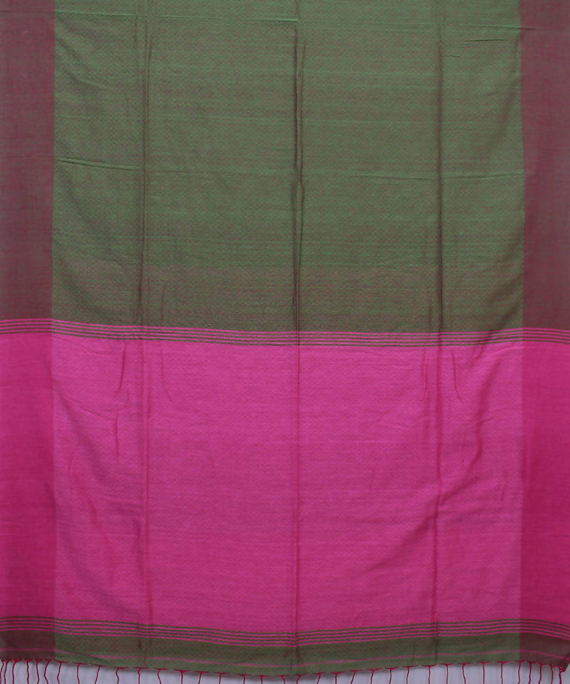 Olive Green Pink Bengal Handloom Cotton Saree