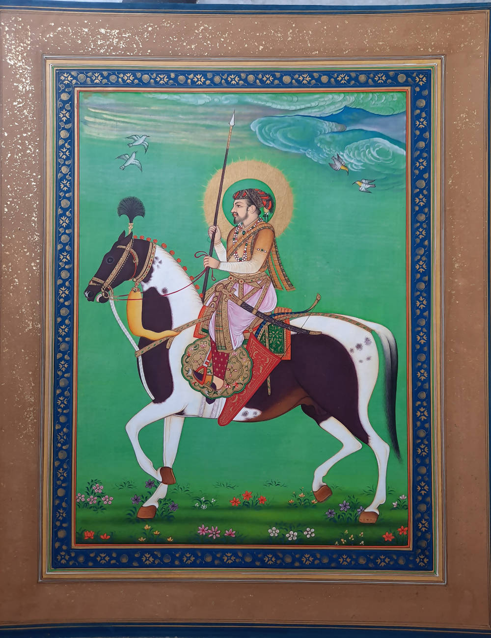 Handmade mughal miniature painting on handmade paper