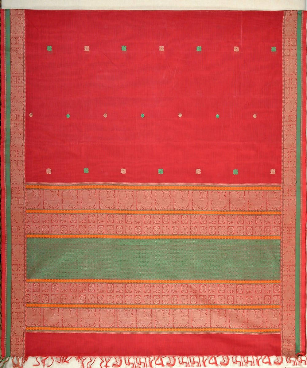 Red Kanchi Cotton Handwoven Saree