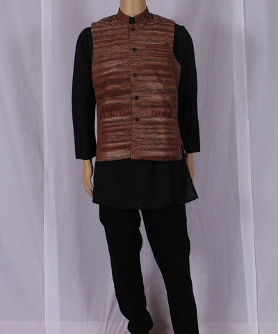 Khadi Nation Handwoven Dark Brown Khadi Waist Coat