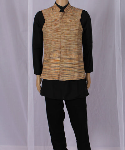 Khadi Nation Handwoven Brown and Black Horizontal Striped Khadi Waist Coat