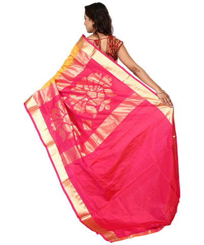 Khadi Nation Mango Yellow Floral Handwoven Silk Saree