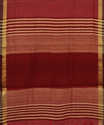 Handwoven Red Silk Cotton Saree