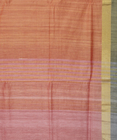 Khadi Handwoven SICO Light Orange Saree