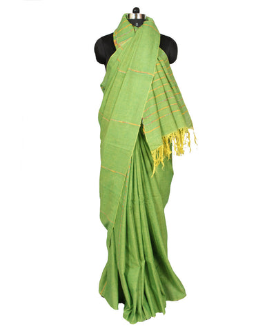 Green Khadi Handwoven Cotton Saree