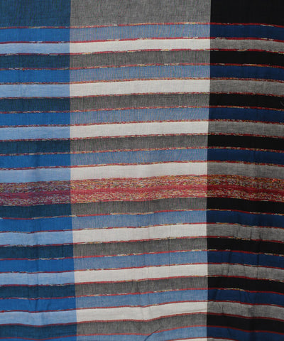 Khadi Handwoven Bands and Stripes Cotton Saree