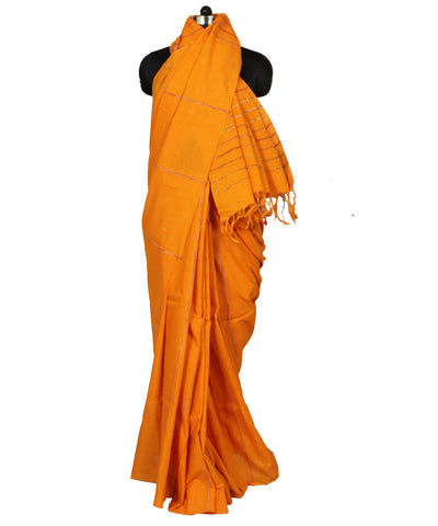 Khadi Handwoven Orange Cotton Saree