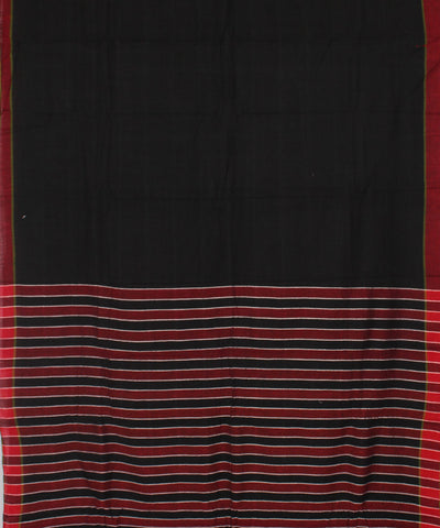 Khadi Handwoven Black and Red Cotton Saree