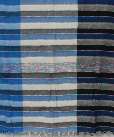 Stripes and Bands Khadi Handwoven Cotton Saree