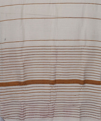 White Striped Khadi Handwoven Cotton Saree