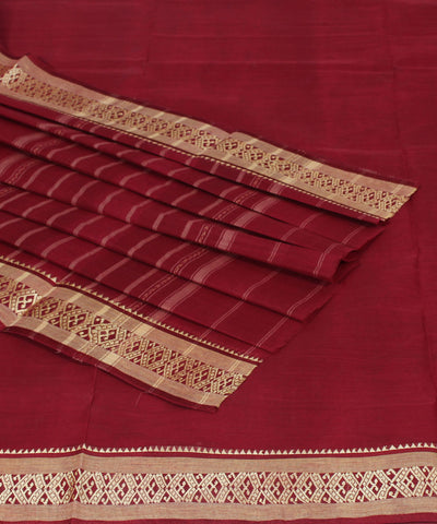 Handwoven Maroon Cotton Saree