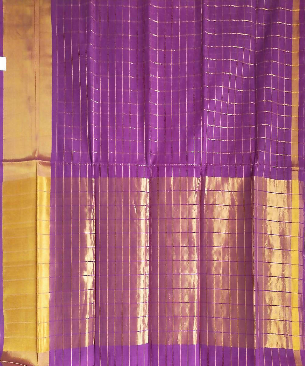 Purple Checks Handwoven Venkatagiri Cotton Saree
