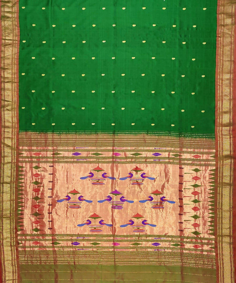 Bottle Green Handloom Paithani Silk Saree