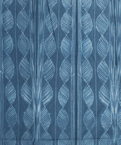 Shibori Print Cotton Blue Kurta Fabric