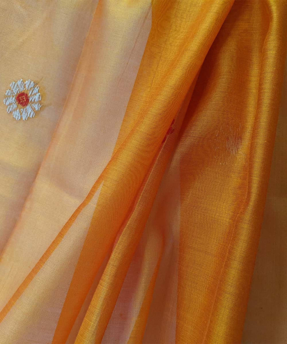 Light orange kasuri hand embroidery maheshwari cotton silk dupatta