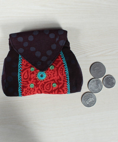 Coffee Brown Red Lambani Hand Embroidery Cotton Foldover Pouch