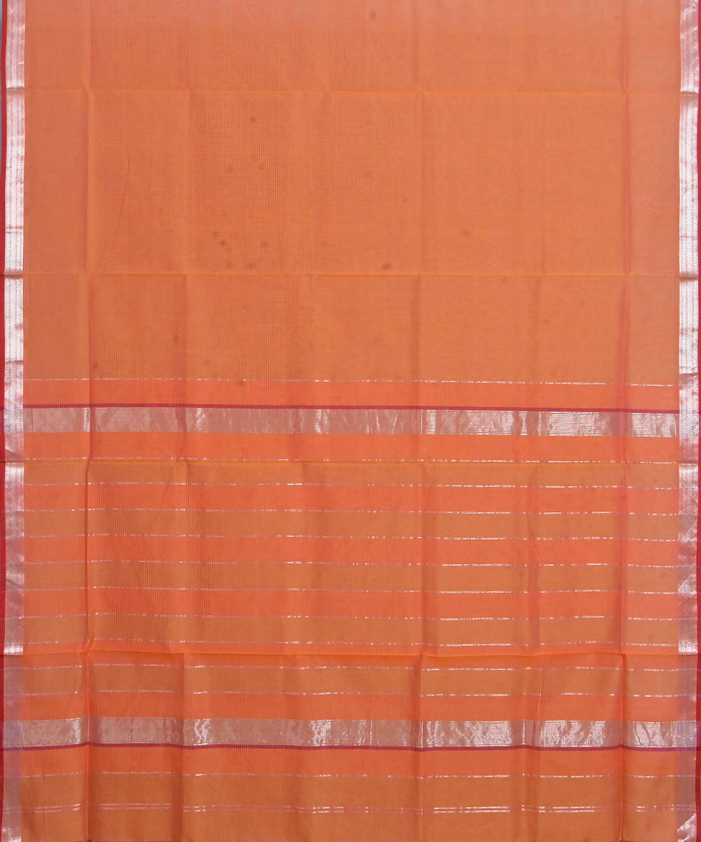 Maheshwari Handloom Carrot Orange Sico Saree