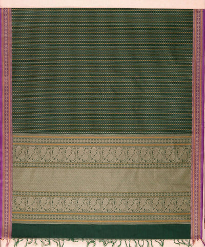 Dark green Handloom Kanchi lakshadeepam thread work cotton saree