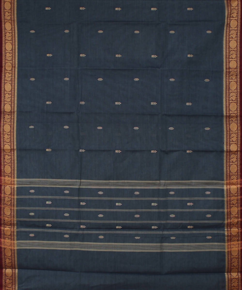 Grey Handloom Cotton saree