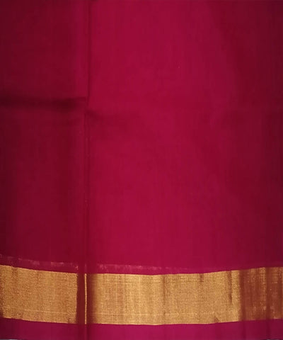 Red with gold shimmer border Handwoven Venkatagiri cotton Saree