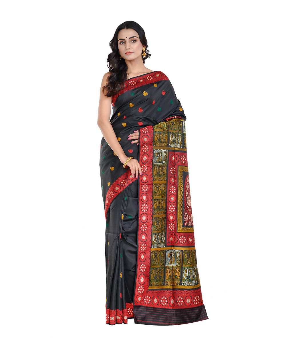 Black and red handwoven baluchari mulberry silk saree