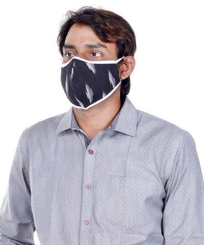 Black Grey Three Layered Handwoven Cotton Masks Set of 3