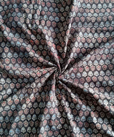 Brown black natural dye ajrakh print handspun handwoven cotton fabric