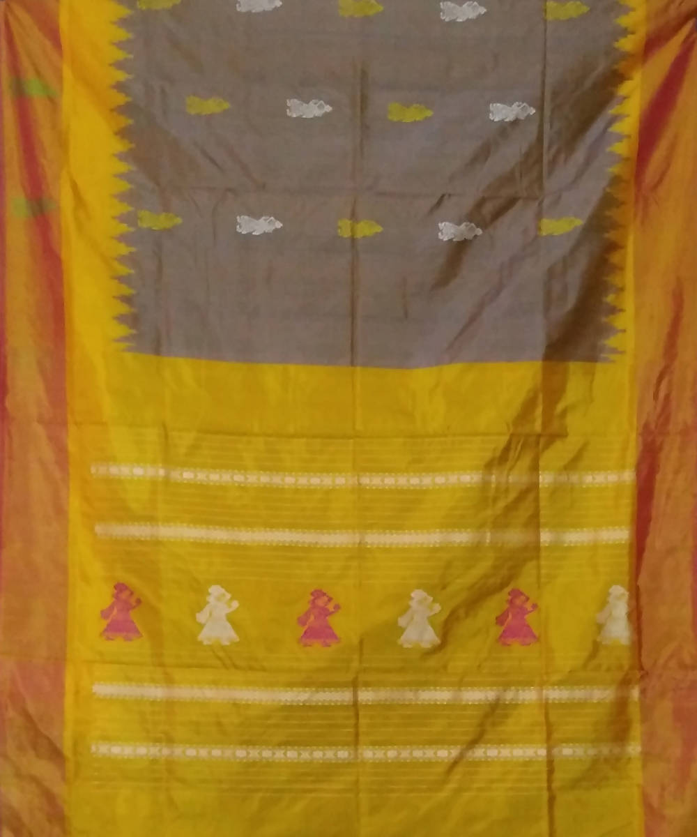 brown yellow handwoven gollabama silk saree