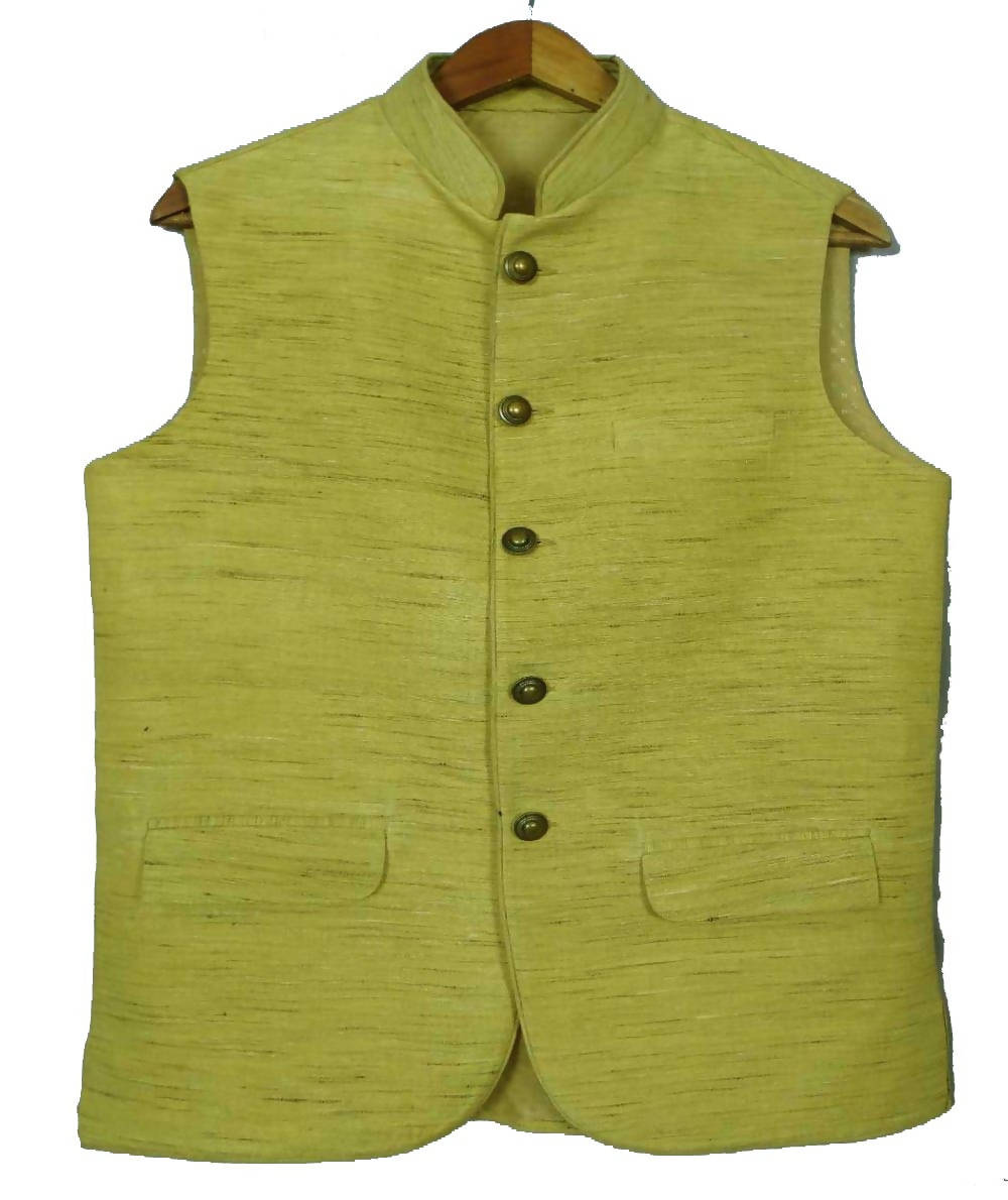 Lemon Green Handwoven Sleeveless Tussar Jacket