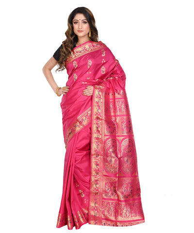 Pink baluchari handwoven Silk Saree