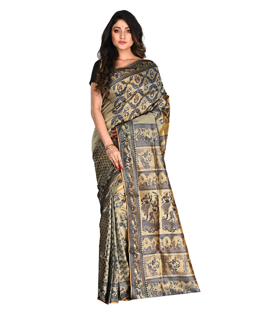 Bengal Handloom Beige Black Baluchari Saree