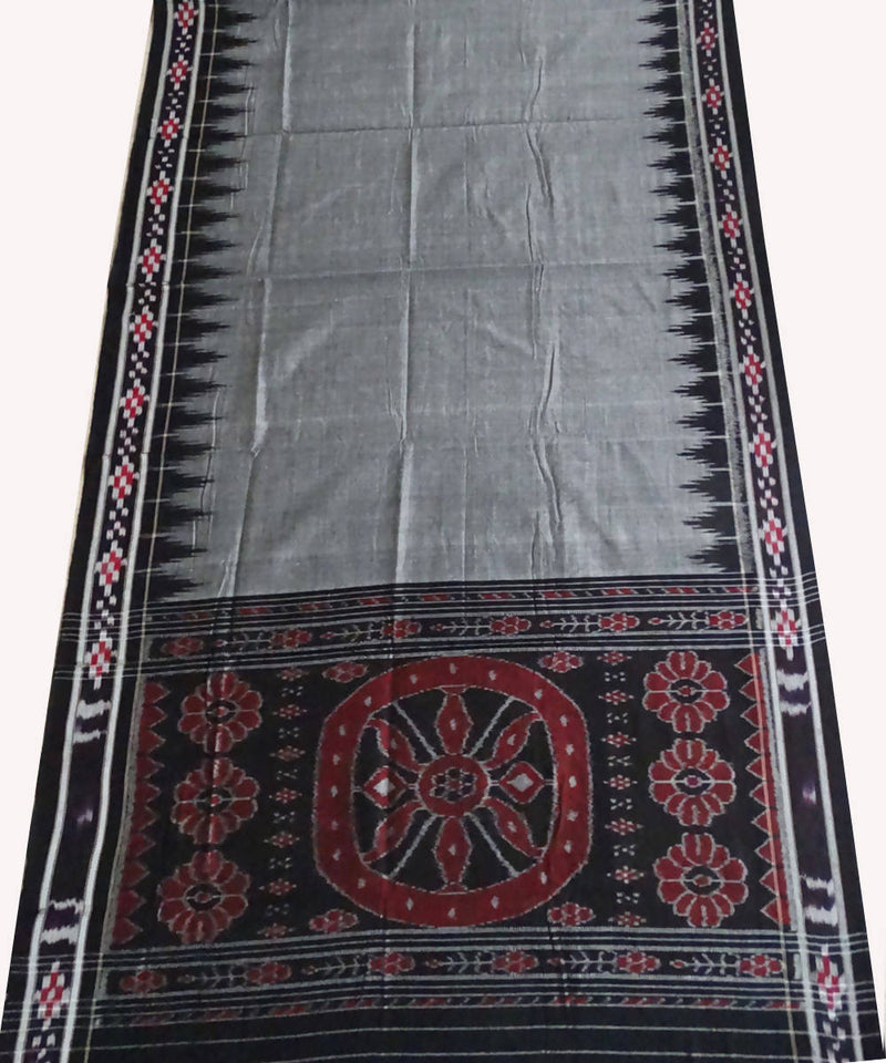 Dark Grey Handloom Nuapatna Ikat Cotton Saree
