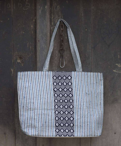 Indigo and white taat wool Hand Embroidered Shopper Bag