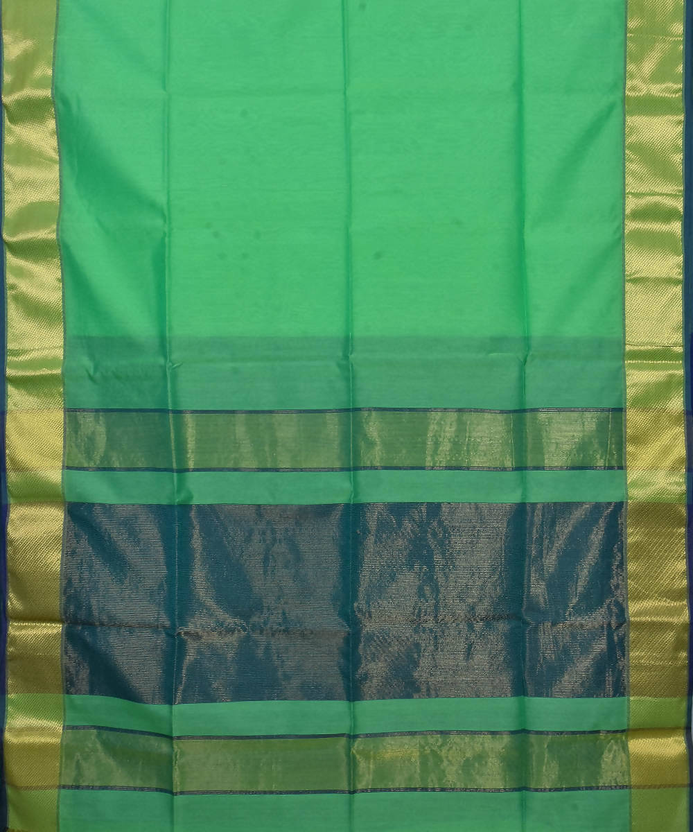 Handloom Light Green Maheshwari Sico Saree