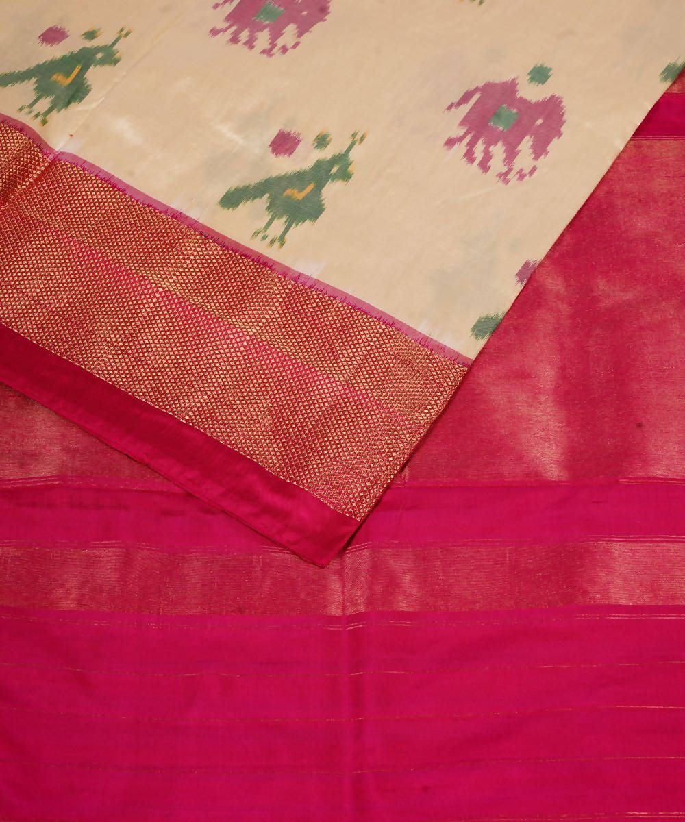 Off White Pink Handloom Ikkat Silk Saree